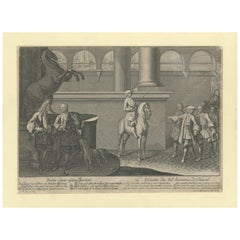 Antique Horse Print of the Correct Posture of Horsemen by Ridinger '1722'