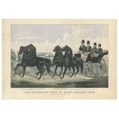 Antique Horse Print of the 'Four in Hand' Stallion Team by Currier & Ives, 1875