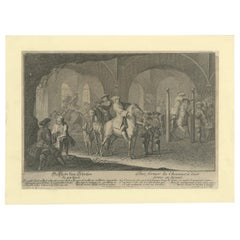 Antique Horse Print Training the Horses for Shooting by Ridinger, '1722'