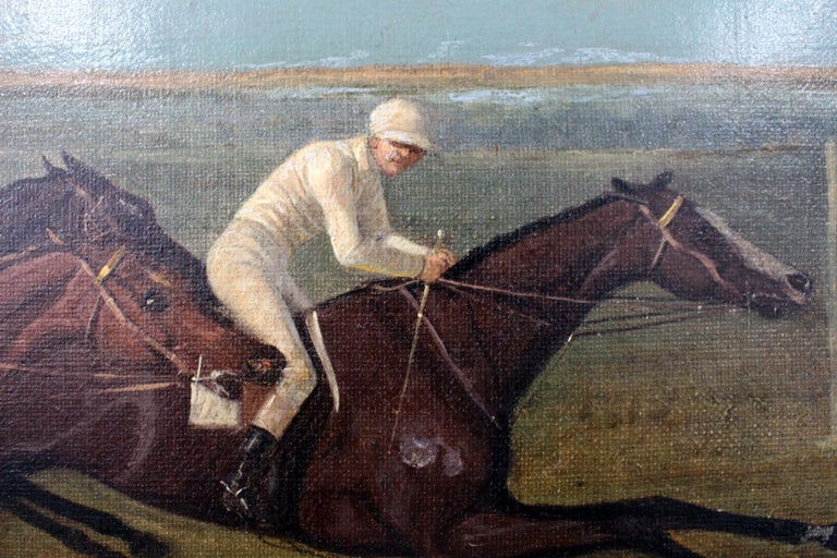 Antique Horse Racing Painting In Good Condition For Sale In Norwalk, CT