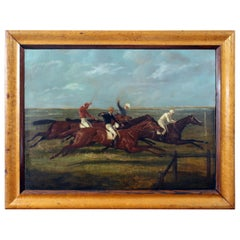 Antique Horse Racing Painting