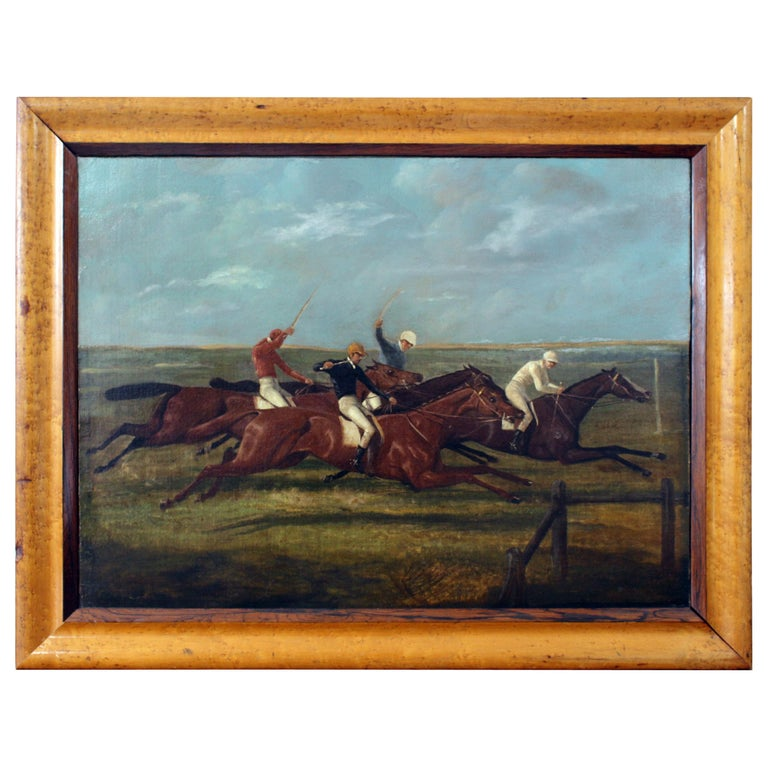 Antique Horse Racing Painting For Sale