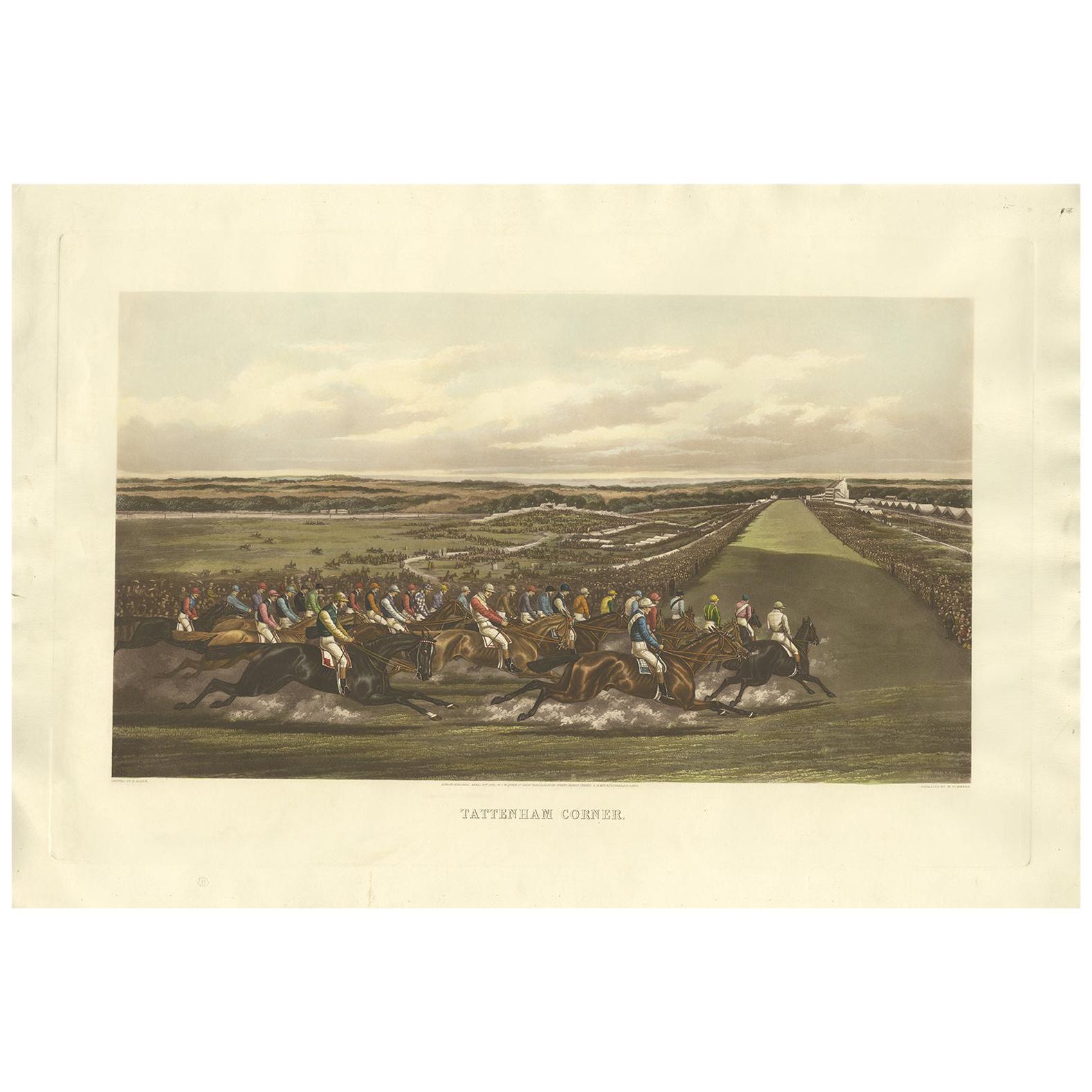 Antique Horse Racing Print 'Tattenham Corner' Made after H. Alken, circa 1900