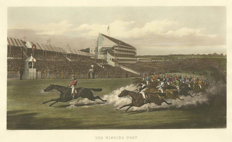 Antique print titled 'The winning post'. Beautiful and large horse racing print made after a painting by H. Alken. The blind stamp reads 'Etching - RM 1900- Engraving'.