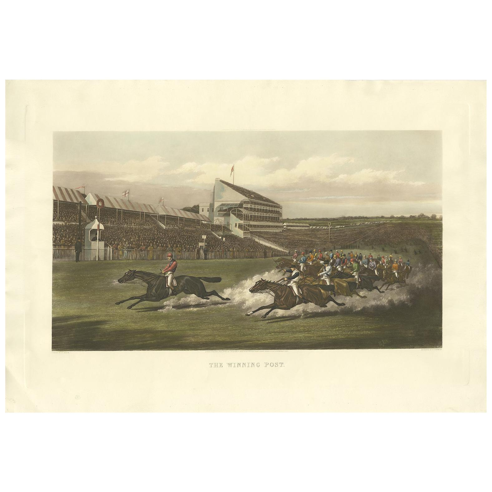 Antique Horse Racing Print 'The Winning Post' Made after H. Alken, circa 1900