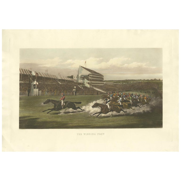 Antique Horse Racing Print 'The Winning Post' Made after H. Alken, circa 1900 For Sale