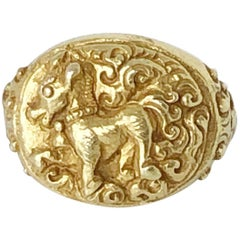 Antique Horse Ring, East Java 14th-15th Century Solid 18 Karat Yellow Gold