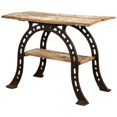 Antique Horse Shoe Elm Topped Table, 20th Century