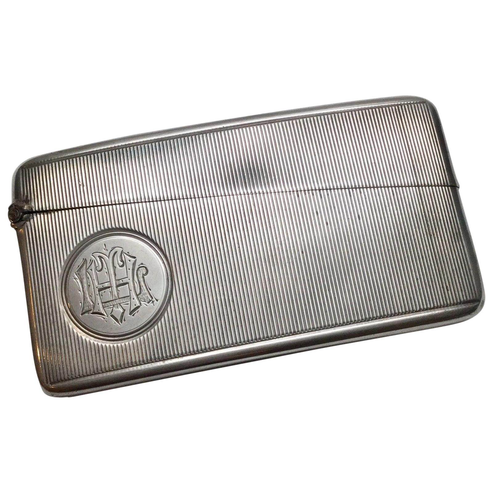 Antique Horton & Allday Birmingham England Sterling Silver Curved Card Case
