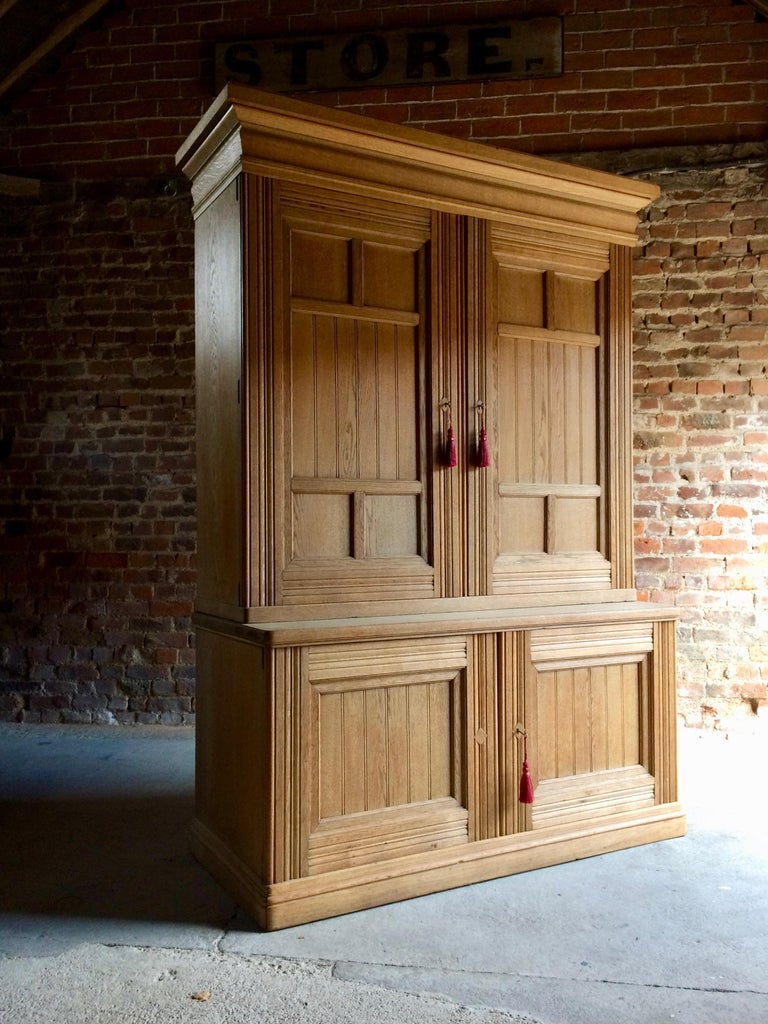 Antique Housekeepers Cupboard Cabinet Solid Ash Large Victorian, 19th Century In Good Condition For Sale In Longdon, Tewkesbury