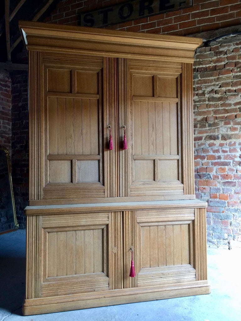 Antique Housekeepers Cupboard Cabinet Solid Ash Large Victorian, 19th Century For Sale 2