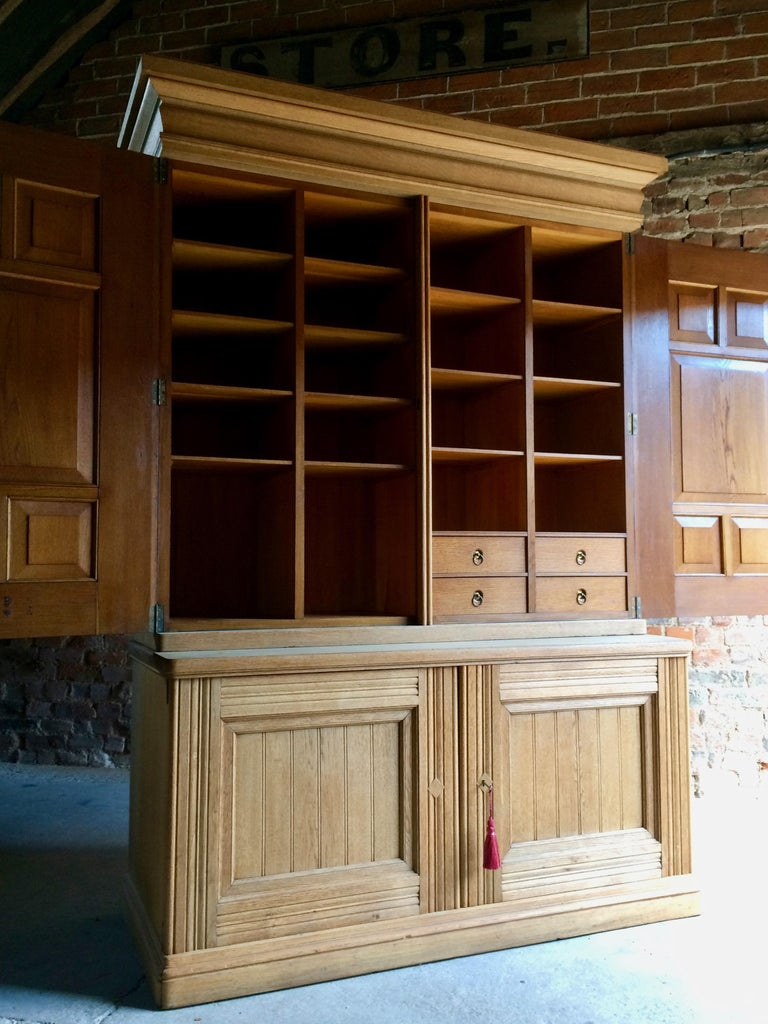 Antique Housekeepers Cupboard Cabinet Solid Ash Large Victorian, 19th Century For Sale 3