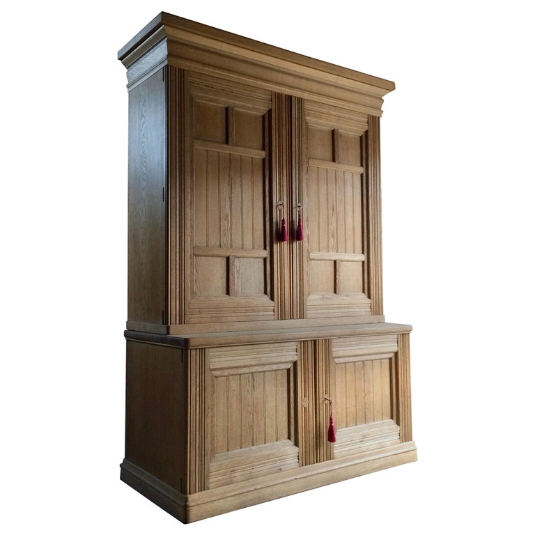 Antique Housekeepers Cupboard Cabinet Solid Ash Large Victorian, 19th Century For Sale