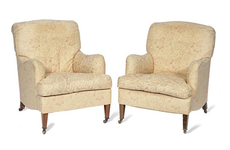 English Antique Howard & Sons 'Bridgewater' Armchairs 19th Century, circa 1890 For Sale