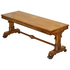 Antique Howard & Son's Pollard Oak Refectory Dining Serving Table Fully Stamped