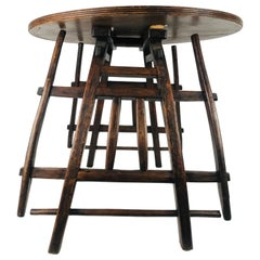 Antique Howdah Wooden Elephant Saddle Round Top Table