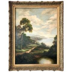 Antique Hudson River Scene Large Landscape Oil Painting in Gilt Wood Frame