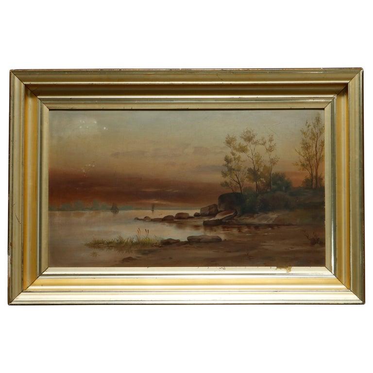 Antique Hudson River School Landscape Oil Painting in Lemon Giltwood Frame c1860 For Sale
