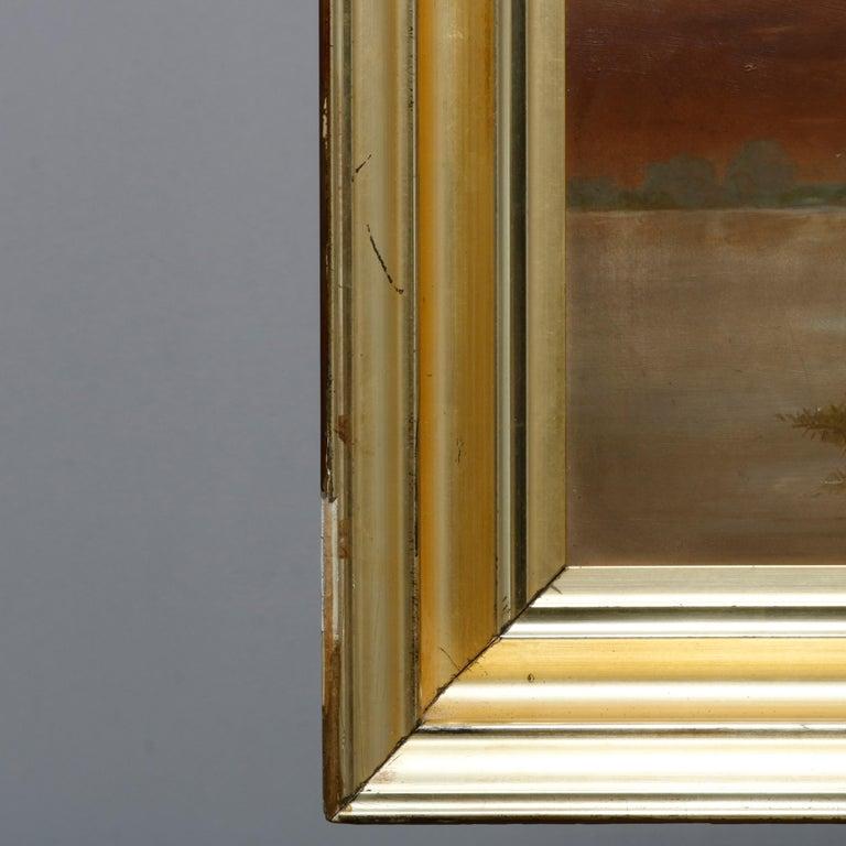Antique Hudson River School Landscape Oil Painting in Lemon Giltwood Frame c1860 For Sale 3