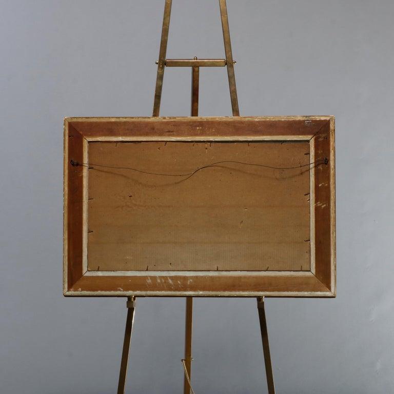 Antique Hudson River School Landscape Oil Painting in Lemon Giltwood Frame c1860 For Sale 7