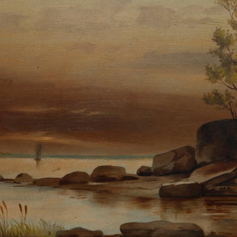 American Antique Hudson River School Landscape Oil Painting in Lemon Giltwood Frame c1860 For Sale