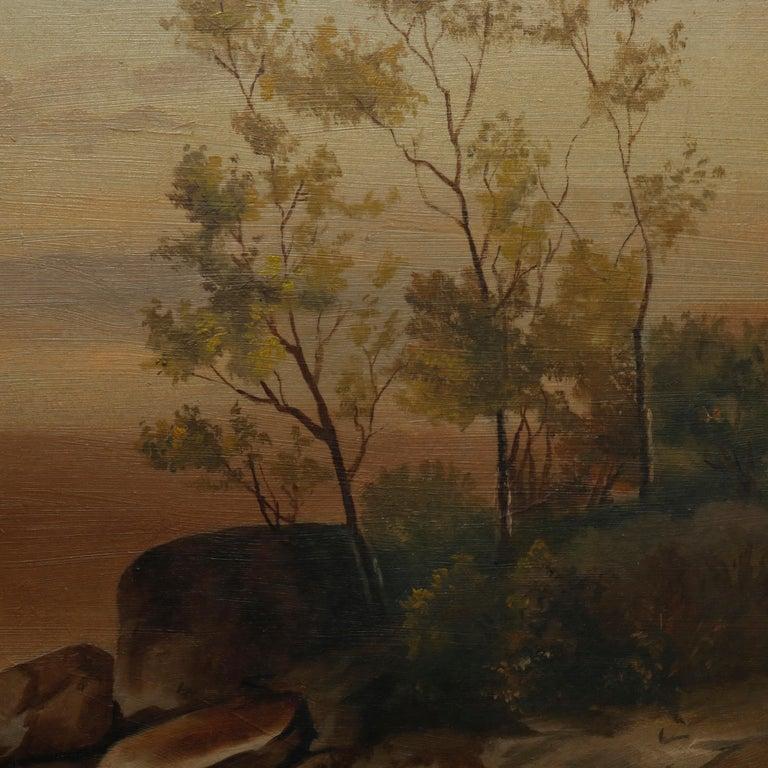 Carved Antique Hudson River School Landscape Oil Painting in Lemon Giltwood Frame c1860 For Sale