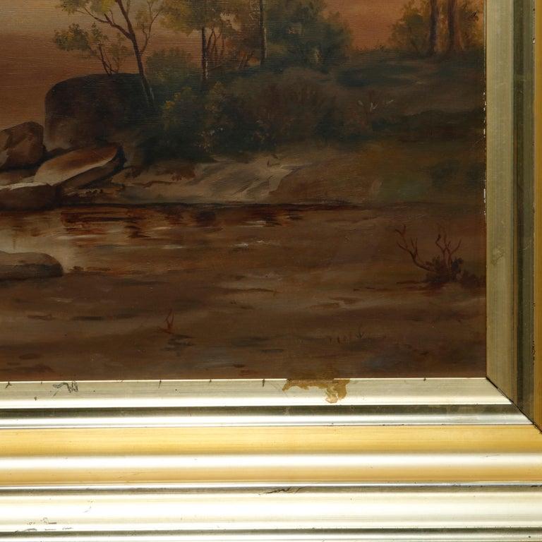 19th Century Antique Hudson River School Landscape Oil Painting in Lemon Giltwood Frame c1860 For Sale