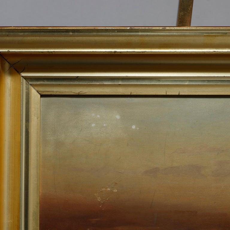 Antique Hudson River School Landscape Oil Painting in Lemon Giltwood Frame c1860 For Sale 1