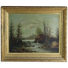 Antique Hudson River School Landscape Oil Painting on Mill Scene, Circa 1890