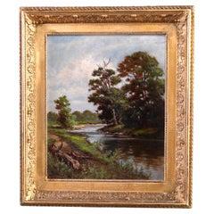 Antique Hudson River School Landscape Painting by F. Myron Hart, c1900