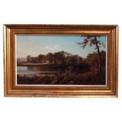Antique Hudson River School Landscape Painting Signed C. Yolhman, 1884
