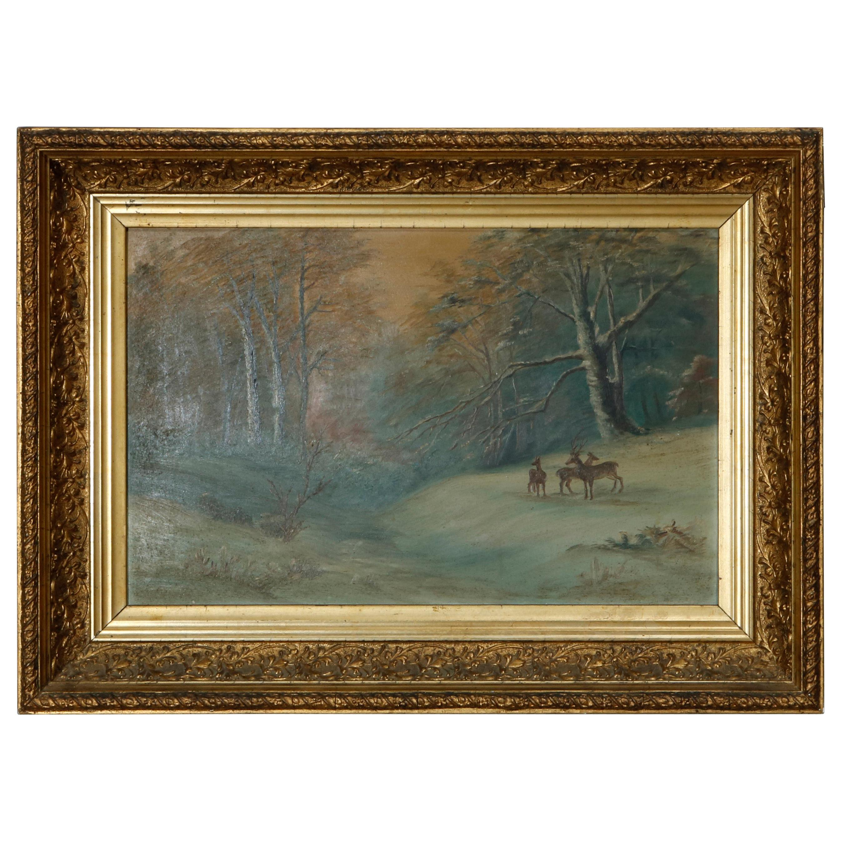 Antique Hudson River School Oil on Board Painting, Winter Scene with Deer, c1890