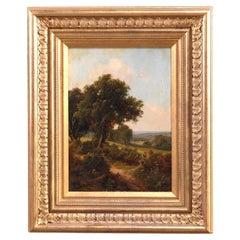 Antique Hudson River School Painting Landscape Signed WM Brown, c1890