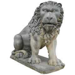 Antique Huge and Powerful Lion Sculpture in Vicenza Stone, 19th Century Italy
