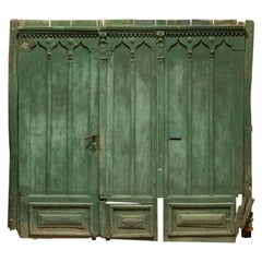 Antique Huge Architectural Green Gate Large Salvaged Doors