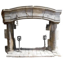 Antique Huge Gothic Stone Mantel Fireplace, Carved Curved, 1300s, France