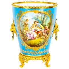 Antique Ormolu Mounted Bleu Celeste Sèvres Porcelain Jardinière, 19th Century
