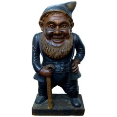Antique Huge Rare Hand Carved Black Forest Wood Gnome Made in Germany circa 1900