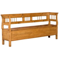 Antique Hungarian Country Pine Storage Bench