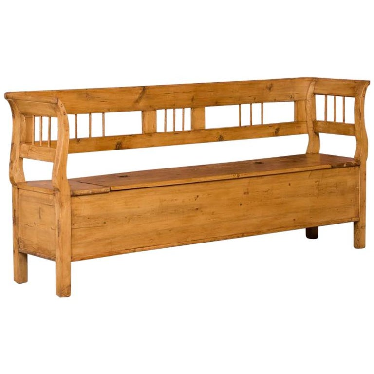 antique hungarian country pine storage bench for sale at 1stdibs. Black Bedroom Furniture Sets. Home Design Ideas