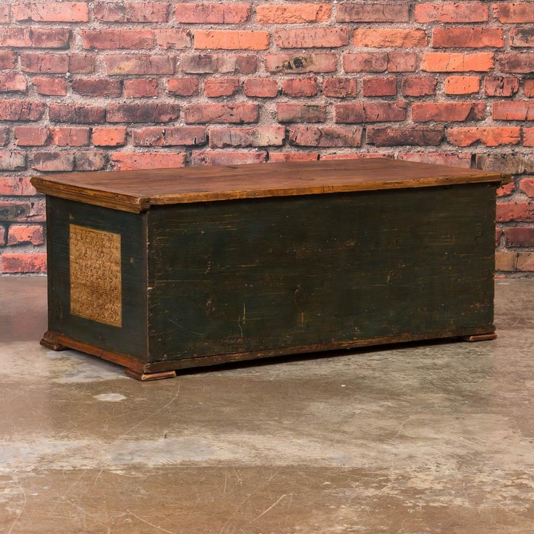 19th Century Antique Hungarian Trunk with Original Folk Art Paint For Sale