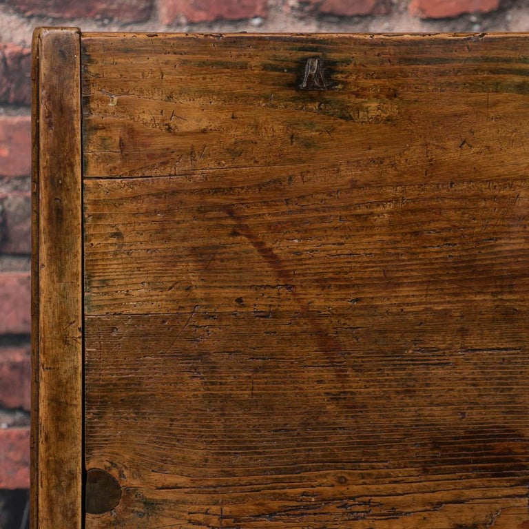Antique Hungarian Trunk with Original Folk Art Paint For Sale 5