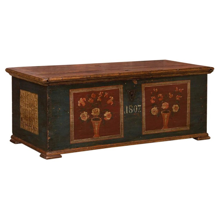 Antique Hungarian Trunk with Original Folk Art Paint For Sale