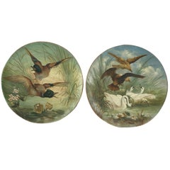 Antique Hunting or Shooting Plates in Painted Terracotta