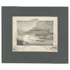 Antique Hunting Print of a shot at Brent Geese, circa 1863