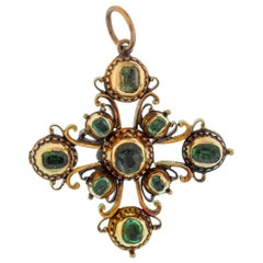 Antique Iberian Peninsula 18 Karat Yellow Gold and Emerald Cross Charm