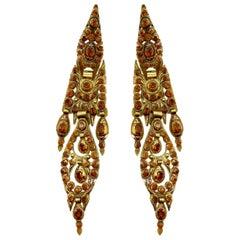 Antique Iberian Spessartine Garnet Yellow Gold Earrings