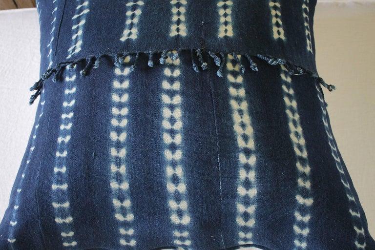 Contemporary Antique Indigo Blue Batik Accent Pillow with Fringe For Sale
