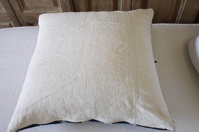 Linen Antique Indigo Blue Batik Accent Pillow with Fringe For Sale