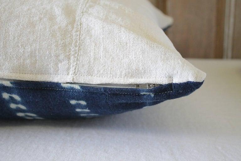 Antique Indigo Blue Batik Accent Pillow with Fringe For Sale 1